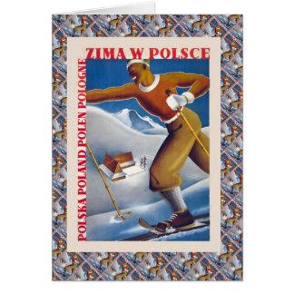 Esquí del vintage, Polonia, Zima W Polsce Tarjeta De Felicitación