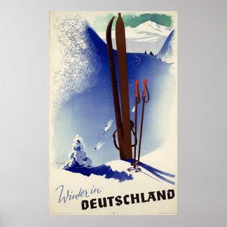 Esquí Deutschland en invierno Póster
