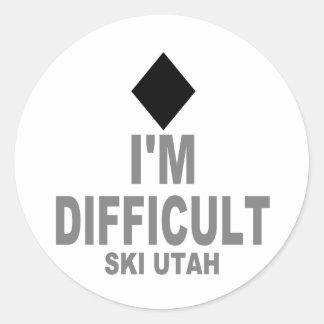 Esquí difícil Utah Pegatina Redonda
