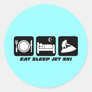 Esquí divertido del jet pegatina redonda