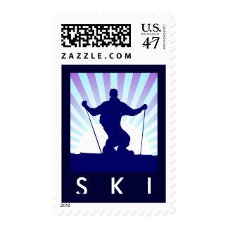 esquí en declive estampilla