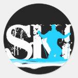 esquí en declive pegatinas redondas