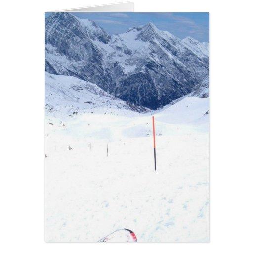 Esquí en la montaña tarjeta de felicitación