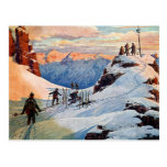 Esquí en las montañas postal