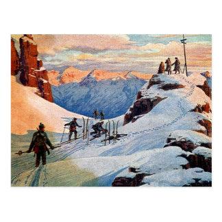 Esquí en las montañas tarjetas postales