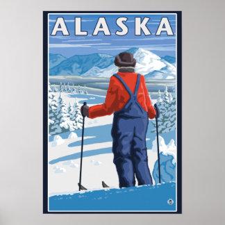 Esquí en poster del viaje del vintage de Alaska