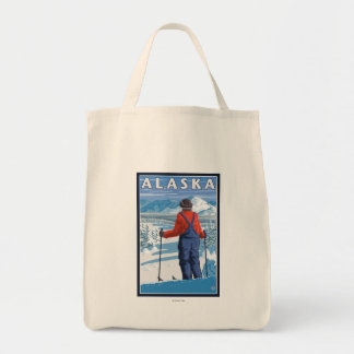 Esquí en poster del viaje del vintage de Alaska Bolsa Tela Para La Compra