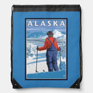 Esquí en poster del viaje del vintage de Alaska Mochilas