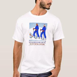 Esquí en poster del vintage de NewYork Playera