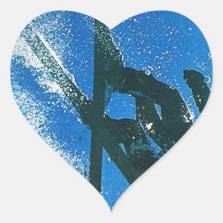 Esquí extremo pegatina en forma de corazón