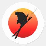 Esquí fresco de Sun Pegatinas Redondas