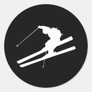 Esquí fresco pegatinas redondas