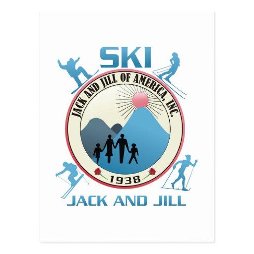 Esquí Jack y materia rosada de Jill Postales