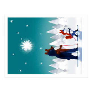 Esquí lindo del oso y del Fox debajo de las Tarjetas Postales