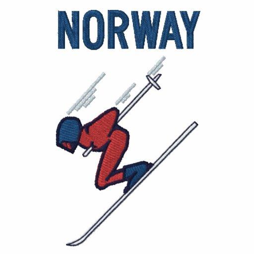 Esquí Noruega - personalizable Sudadera Bordada Con Capucha