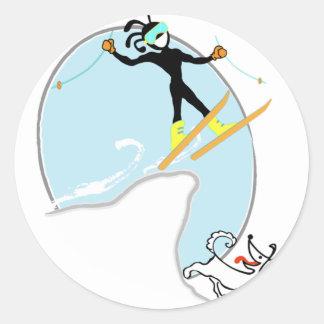Esquí Pegatina Redonda