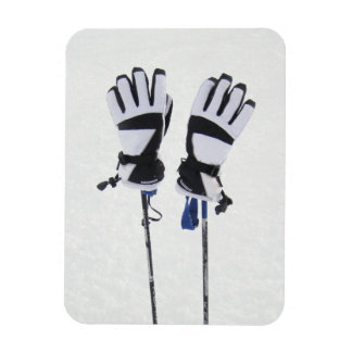 Esquí postes e imán de los guantes