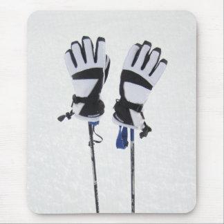 Esquí postes y guantes Mousepad