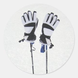 Esquí postes y pegatinas de los guantes pegatina redonda