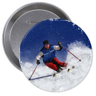 Esquí que compite con abajo de la montaña pin redondo 10 cm