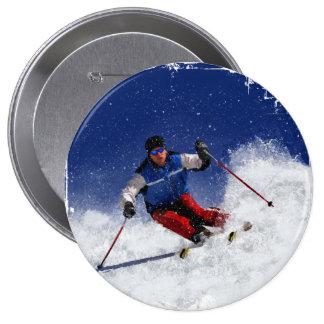 Esquí que compite con abajo de la montaña pin redondo de 4 pulgadas