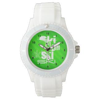 Esquí; Rayas verdes de neón Reloj De Mano
