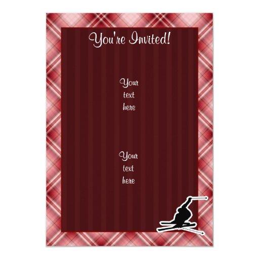 Esquí rojo de la nieve de la tela escocesa invitación 12,7 x 17,8 cm