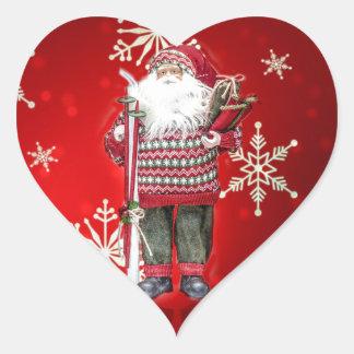 Esquí Santa Pegatina En Forma De Corazón