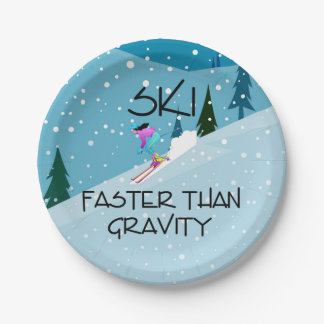 Esquí SUPERIOR más rápidamente Plato De Papel De 7 Pulgadas