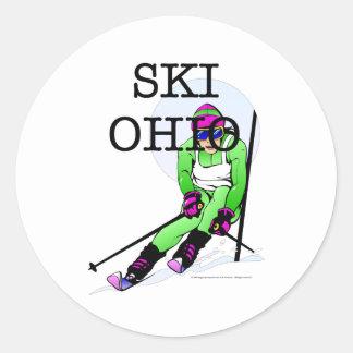 Esquí SUPERIOR Ohio Pegatina Redonda
