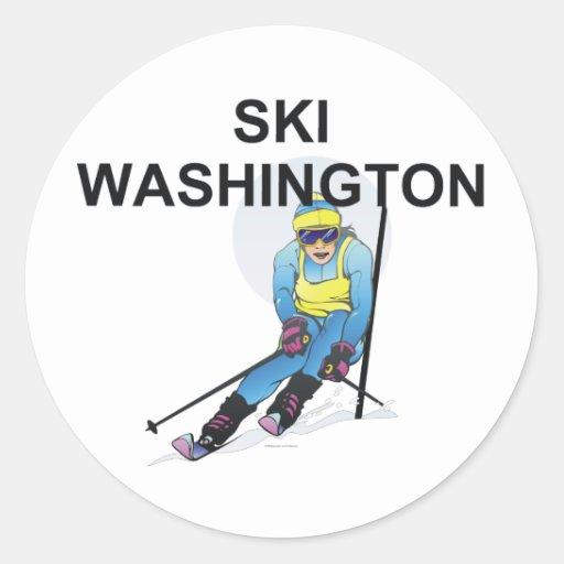 Esquí SUPERIOR Washington Pegatina Redonda