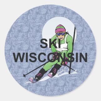 Esquí SUPERIOR Wisconsin Etiqueta Redonda