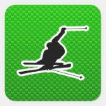Esquí verde de la nieve calcomania cuadradas personalizada