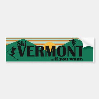 Esquí Vermont… si usted quiere Pegatina De Parachoque