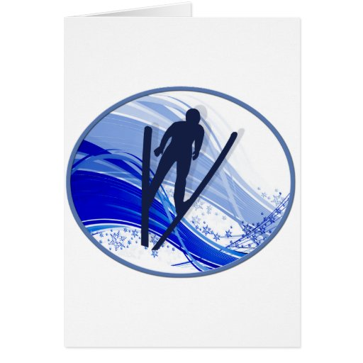 Esquí y copos de nieve felicitacion