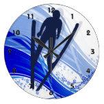 Esquí y copos de nieve relojes de pared