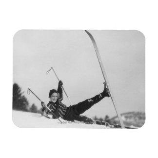 Esquiador 2 de la mujer iman rectangular