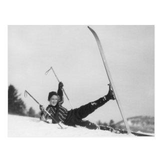 Esquiador 2 de la mujer tarjeta postal