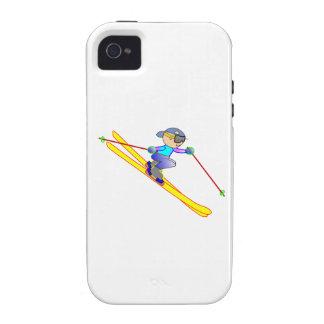 Esquiador amarillo y azul del dibujo animado que Case-Mate iPhone 4 carcasas