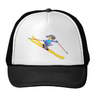 Esquiador amarillo y azul del dibujo animado que gorras de camionero