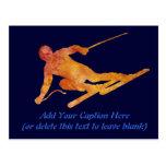 Esquiador anaranjado quemado con el texto adaptabl tarjetas postales