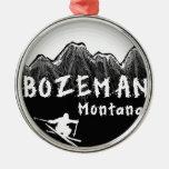 Esquiador artístico de Bozeman Montana Adorno Navideño Redondo De Metal