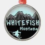 Esquiador artístico de Montana del pescado blanco Adorno De Navidad