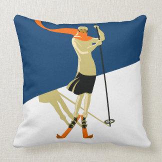 Esquiador de la mujer del diseño del vintage almohadas