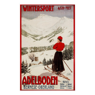 Esquiador de la mujer que pasa por alto el poster