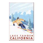 Esquiador de la nieve de Downhhill - el lago Tahoe Impresión En Lienzo
