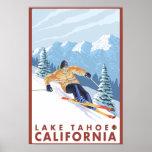 Esquiador de la nieve de Downhhill - el lago Tahoe Póster