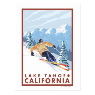 Esquiador de la nieve de Downhhill - el lago Tarjeta Postal