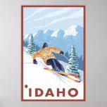 Esquiador de la nieve de Downhhill - Idaho Póster