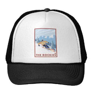 Esquiador de la nieve de Downhhill - los Rockies Gorro